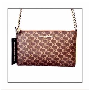 NWT Karl Lagerfeld Signature Crossbody with Chain